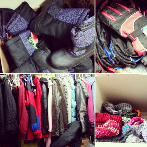 Gloves, toques, and winter jackets in the YESS donation room