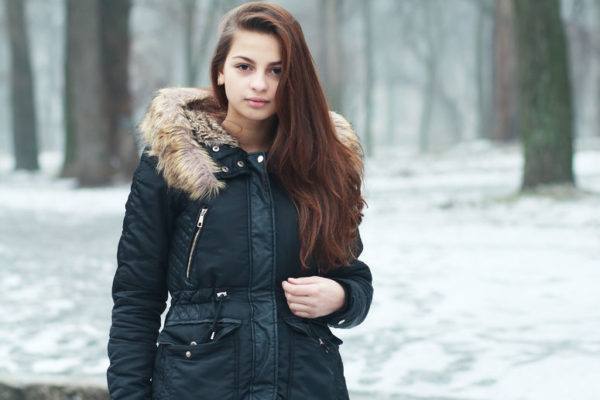 Youth wearing parka