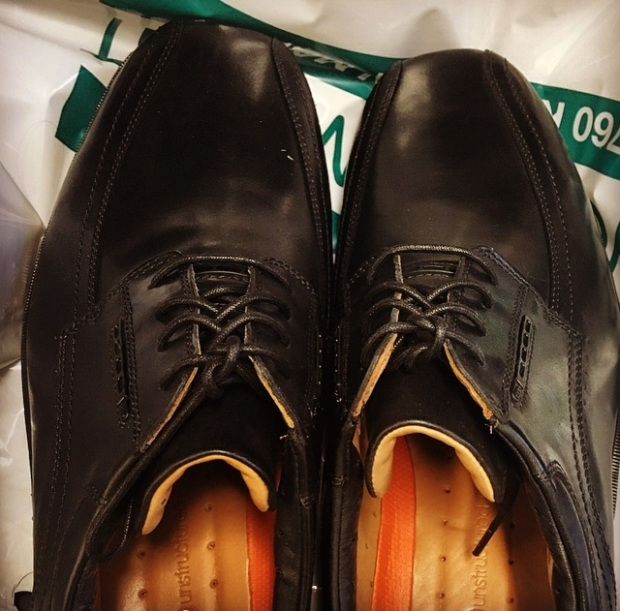 Pair of black dress shoes