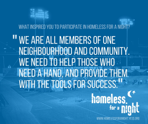 Homeless For A Night participant quote