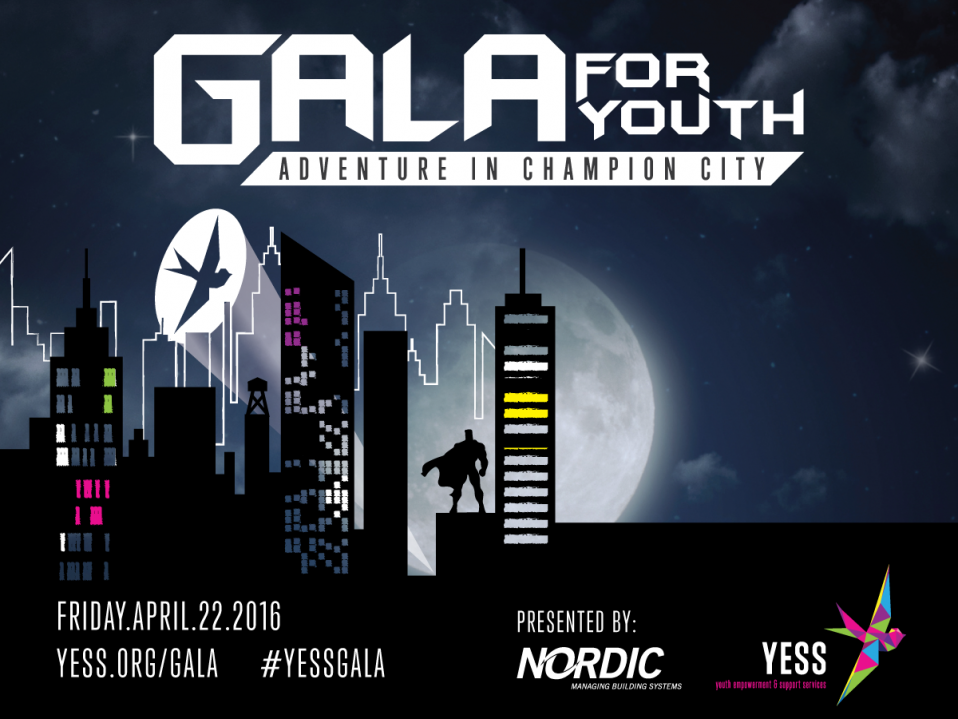 YESS Gala 2016 comic book skyline