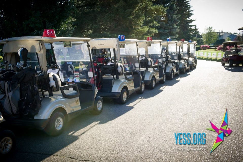 Golf carts lined up and ready at the 2015 YESS Charity Golf Classic