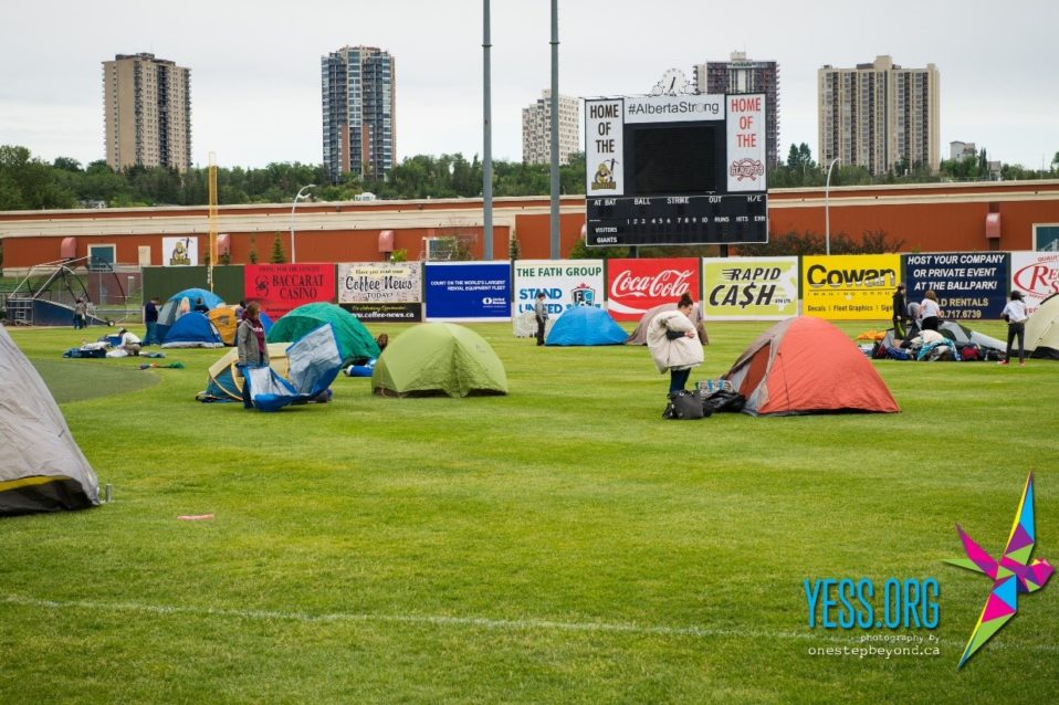 Tents pitched at Edmonton Ballpark for Homeless for a Night 2016