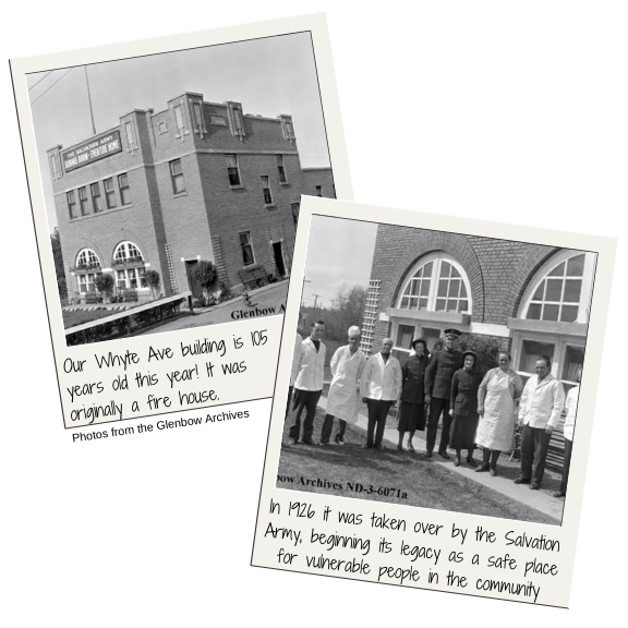 Archived black and white photos of Salvation Army personnel outside the brick Whyte Ave building